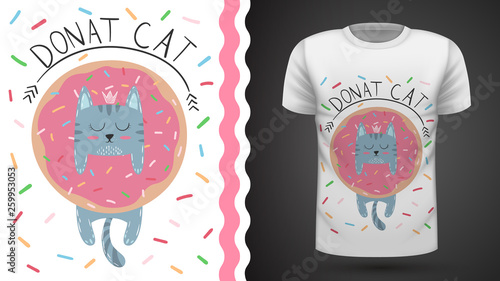 Cat with donut - idea for print t-shirt. © HandDraw