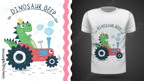 Dino with tractor - idea for print t-shirt © HandDraw