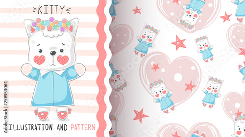 Cute teddy kitty - seamless pattern. © HandDraw