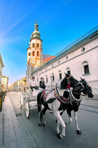 Two Horses In Old-fashioned Coach At Old Town Square on bright Summer Day. St. Mary's Basilica Famous Landmark On Background