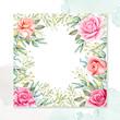 beautiful watercolor floral  wedding card