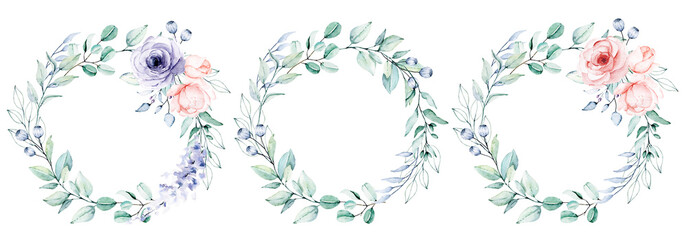 Watercolor flower and leaf wreath. Floral clip art. Frame perfectly for print on wedding invitation, greeting card, wall art, stickers and other. Isolated on white background. Hand paint design.  © Larisa