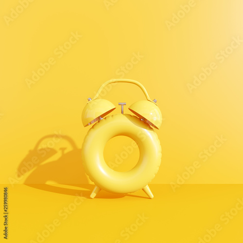Clock ring floating on yellow background. Summer time concept. 3d rendering © aanbetta