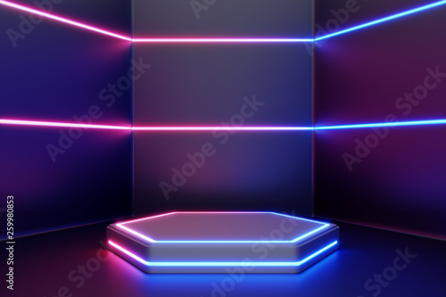 Blank product stand with line neon lights. 3d rendering © aanbetta