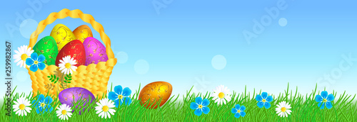 Easter eggs with decorative golden ornament on grass and basket - 259982867