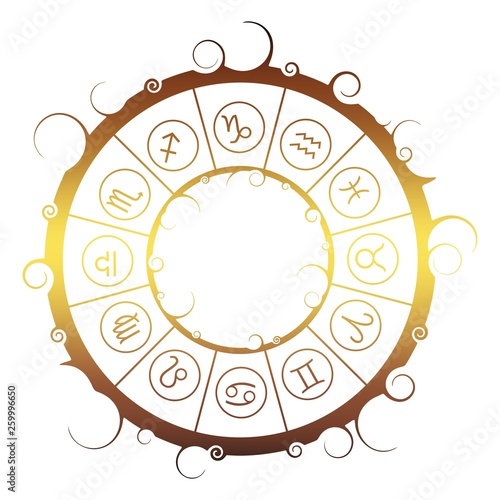 Astrological symbols in the circle. Vector illustration © JEGAS RA