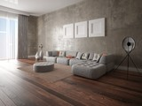 Mock up stylish lounge with a trendy corner sofa with a gray hipster backdrop.