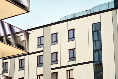 Modern european complex of apartment buildings. Fragment of a modern residential apartment building