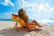 Quadro Woman enjoying her holidays on a transat at the tropical beach