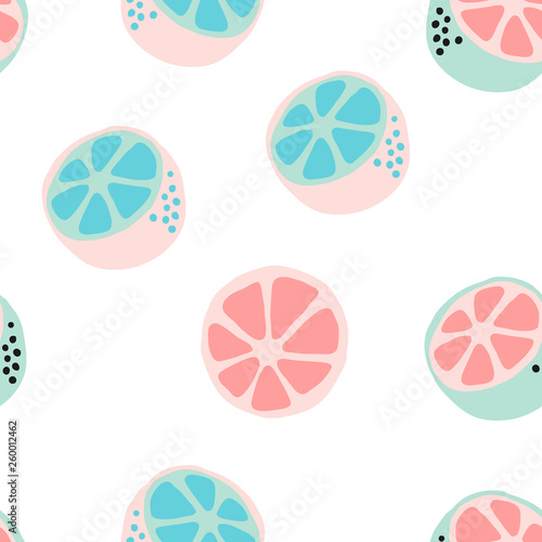 Fresh citrus background. Hand drawn overlapping backdrop. Wallpaper vector illustration with pastel colors. Seamless pattern with fruits collection, for printing, poster, textile, greeting card design - 260012462