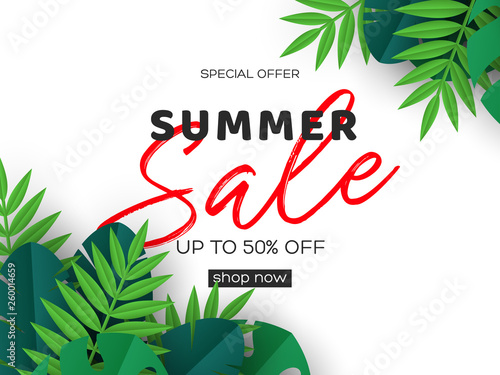 Summer Banner With Exotic Jungle Tropical Palm Leaves On White Background Template For Seasonal