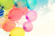 Quadro Colorful balloons done with a retro instagram filter effect. Concept of happy birth day in summer and wedding, honeymoon party use for background. Vintage color tone style