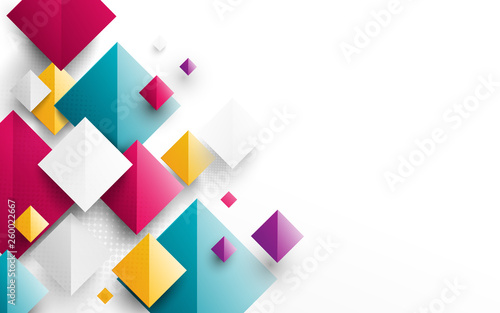Abstract colorful rectangles 3D repeating on white background