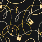 Seamless Pattern With Golden Chains, Keys and Locks. Vector Illustration. Fashion Print - 260031497