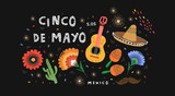 Cinco de Mayo! Set of vector illustrations for a mexican holiday for banner, card, cover, poster or party flyer. Drawings of guitar, sombrero, maracas, cactus and flowers