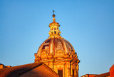 Details of old church cupola in Rome