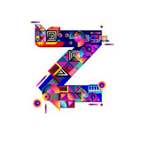Vector colorful alphabet font letter Z for logo, illustration, and background