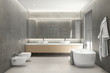 3d rendering of a modern grey concrete bathroom