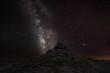 canvas print picture - Die Milchstraße über einem Felsen im dunklen Moor in Devon
