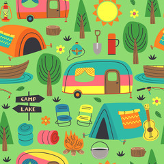 seamless pattern with summer camping elements - vector illustration, eps