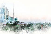 """Постер, картина, фотообои """"Abstract offices Building in the capital city on watercolor painting background. City on Digital illustration brush to art."""""""