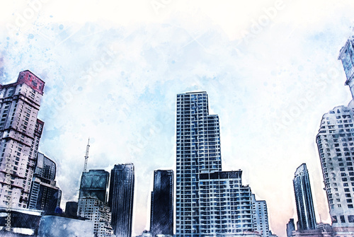 Abstract offices Building in the city on watercolor painting background. City on Digital illustration brush to art. - 260067277