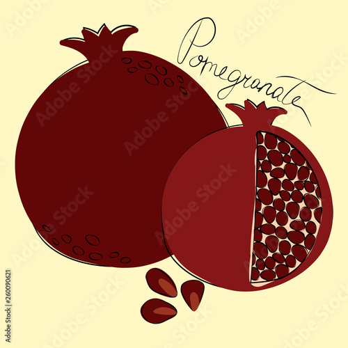 Vector illustration of whole and cut pomegranates on pastel yellow background - 260090621