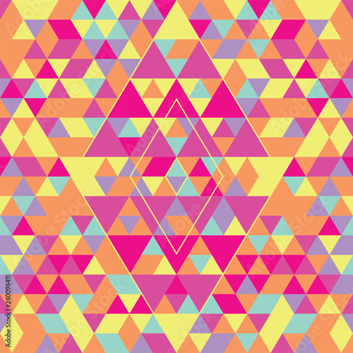 fototapeta na ścianę Geometric seamless pattern with colorful triangles. Pink, yellow and purple.