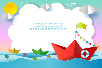 origami boat sailing in the ocean, travel concept Template for advertising brochure, your text, paper art and digital craft style, leadership concept, flat Vector illustration.