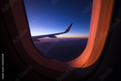 Sunrise on window plane wiew, with mountains on the background in the region of Cancun - 260126208