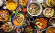 Quadro Top view composition of various Asian food in bowl