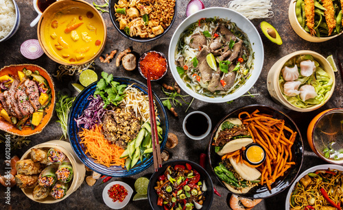Top view composition of various Asian food in bowl - 260128861