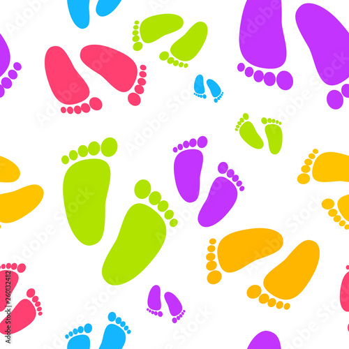 Baby's colorful foot prints on the white background. Seamless Pattern. Vector Illustration