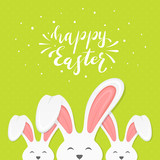 Green Background with Text Happy Easter and Bunny Ears
