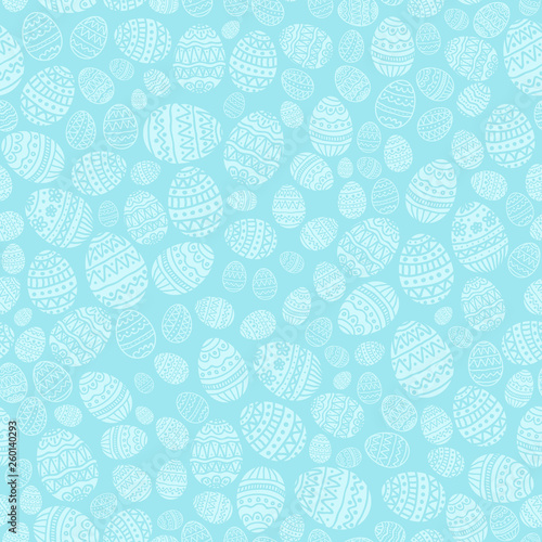 Seamless Background with Easter Eggs on Blue Background - 260140293