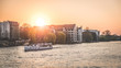 boat on river spree in Berlin during sunset
