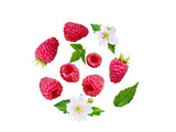 Raspberry berries, leaves and flowers flying swirl isolated on white