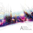 3D illustration architecture urban city modern building perspective abstract background.