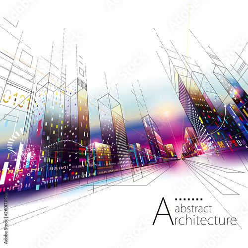 3D illustration architecture urban city modern building perspective abstract background. - 260170456