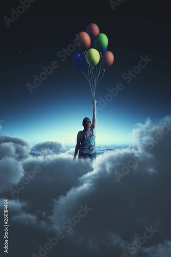 Flying with balloons - 260184464