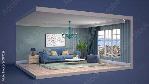 Leinwandbild Motiv Interior of the living room in a box. 3D illustration