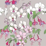 Seamless Orchid and fuchsia pattern. Vector graphics.