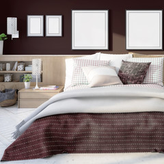 Elegant bedroom interior with template frames (focused) - 3d illustration