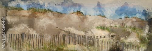 Watercolour painting of Panorama landscape of sand dunes system on beach at sunrise