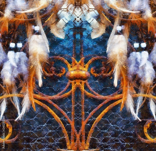 Dream Catcher and ornamental window on background. computer painting effect. © jozefklopacka