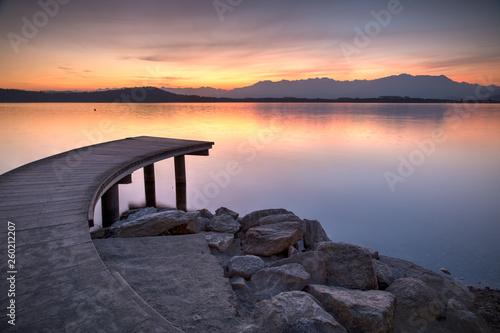 wood bridge on a lake