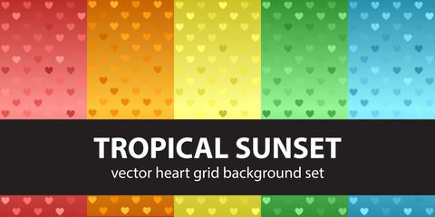 Heart pattern set Tropical Sunset. Vector seamless backgrounds © Olga
