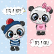 Baby Shower greeting card with Pandas boy and girl - 260218895
