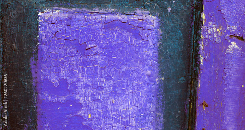 Leinwandbild Motiv Old wooden background with remains of pieces of scraps of old paint on wood. Texture of an old tree, vintage wood background peeling paint. old blue board with cracked paint