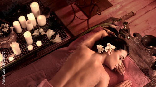 Massage woman topless back in spa salon © Gennadiy Poznyakov